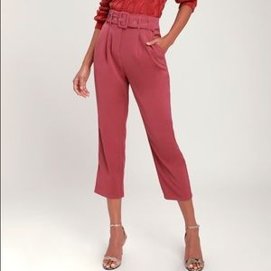 Lulu's 'Power Moves' Belted Trouser Pant